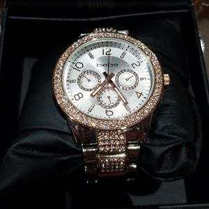 Bebe Silver & Rose Gold crystal watch